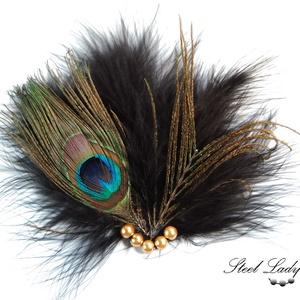 Peacock Dark - elegáns pávatollas hajdísz, Esküvő, Hajdísz, ruhadísz, Táska, Divat & Szépség, Ruha, divat, Hajbavaló, Ékszerkészítés, Peacock Dark, a páva sötét oldala. :) Jelen esetben ez nem a gonoszságra, hanem az eleganciára utal...., Meska