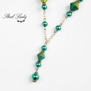 Green Candy - zöld gyöngyös nyaklánc - Meska.hu