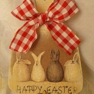 Húsvéti ajtódísz , Otthon & Lakás, Dekoráció, Ajtódísz & Kopogtató, Nyuszis antikolt, decoupage technikával készült húsvéti ajtódísz. Vendégeink már az ajtóban érezheti..., Meska