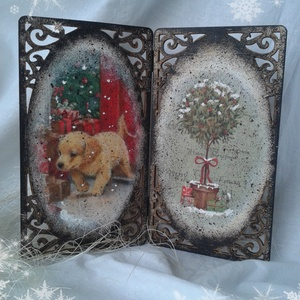 Karácsonyi kép, Karácsonyi dekoráció, Karácsony & Mikulás, Otthon & Lakás, Decoupage, transzfer és szalvétatechnika, Festett tárgyak, Antik hatású, decoupage technikával készített karácsonyi kép. Még ha nincs is kandallópárkányod, aho..., Meska