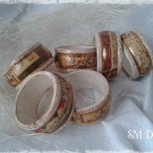 Szalvétagyűrű szett (6 darabos), Otthon & Lakás, Konyhafelszerelés, Antikolt, decoupage technikával készített szalvétagyűrű szett. A szett 6 darab gyűrűt tartalmaz.  Kb..., Meska