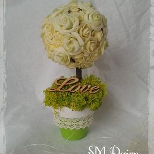 Szerelemfa, Esküvő, Esküvői dekoráció, Dekoráció, Otthon & lakás, Lakberendezés, Festett tárgyak, Mindenmás, Polifoam rózsafejekből készített fácska.\nEsküvői dekorációhoz, romantikus alkatoknak.\n\nKb. 17x9 cm\n\n..., Meska