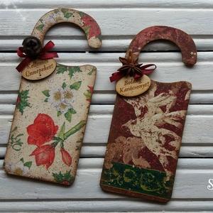 Karácsonyi üdvözlő ajtóra (2 darabos szett), Karácsonyi kopogtató, Karácsony & Mikulás, Otthon & Lakás, Decoupage, transzfer és szalvétatechnika, Különféle motívummal díszített ünnepi dekoráció akár bejárati, akár szobaajtóra.\nFokozza a karácsony..., Meska