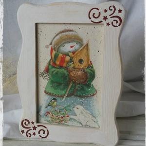 Karácsonyi kép, Karácsonyi dekoráció, Karácsony & Mikulás, Otthon & Lakás, Decoupage, transzfer és szalvétatechnika, Festett tárgyak, Decoupage technikával készült hóemberes karácsonyi kép.\n\nTökéletes kiegészítője az ünnepi dekoráción..., Meska