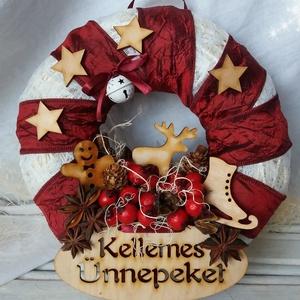 Karácsonyi koszorú, Otthon & Lakás, Karácsony & Mikulás, Karácsonyi kopogtató, Mindenmás, Romantikus hangulatú, az ünnepek melegét árasztó karácsonyi koszorú ajtóra.\nSok-sok aprósággal díszí..., Meska