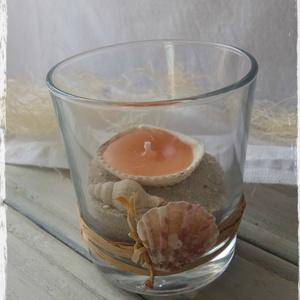 Tengeri fuvallat mécses, Gyertya & Gyertyatartó, Dekoráció, Otthon & Lakás, Gyertya-, mécseskészítés, A kagylók a természet nyugtató közelségét varázsolják körénk.\nEgy romantikus fürdőzéshez elengedhete..., Meska