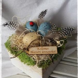 Húsvéti asztaldísz, Dekoráció, Otthon & lakás, Húsvéti díszek, Ünnepi dekoráció, Dísz, Festett tárgyak, Mindenmás, A húsvéti asztaldekoráció ezzel a választással már tökéletes is lesz.\nVintage hatás keveredik a tava..., Meska