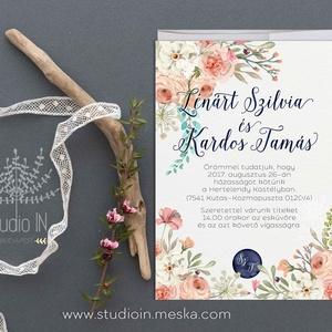 Virágos Esküvői Meghívó,Bohó, Meghívó,  Esküvő, RomantikusEsküvő,Virágos Meghívó, Esküvő, Meghívó, ültetőkártya, köszönőajándék, Fotó, grafika, rajz, illusztráció, Papírművészet, Virágos Esküvői  meghívó, prémium borítékkal.\n\nA termék tartalmazza:\n* Meghívó lap, egy oldalas : A6..., Meska