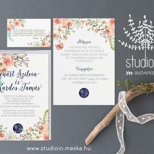 Virágos Meghívó szett, Esküvői Meghívó,  Esküvő,Romantikus Esküvő,Virágos Meghívó, Esküvő, Meghívó, ültetőkártya, köszönőajándék, Fotó, grafika, rajz, illusztráció, Papírművészet, Virágos Esküvői  meghívó szett, prémium borítékkal.\n\nMeghívó CSOMAG:\n* Meghívó lap, egy oldalas : A6..., Meska