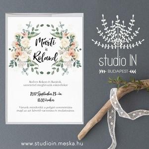 Virágkoszorús Esküvői Meghívó,Bohó, Meghívó,  Esküvő, RomantikusEsküvő,Virágos Meghívó, Esküvő, Meghívó, ültetőkártya, köszönőajándék, Fotó, grafika, rajz, illusztráció, Papírművészet, Virágkoszorús Esküvői  meghívó, prémium borítékkal.\n\nA termék tartalmazza:\n* Meghívó lap, egy oldala..., Meska