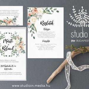 Virágkoszorús Meghívó szett, Esküvői Meghívó,  Esküvő,Romantikus Esküvő,Virágos Meghívó, Esküvő, Meghívó, ültetőkártya, köszönőajándék, Fotó, grafika, rajz, illusztráció, Papírművészet, Virágkoszorús Esküvői  meghívó szett, prémium borítékkal.\n\nMeghívó CSOMAG:\n* Meghívó lap, egy oldala..., Meska