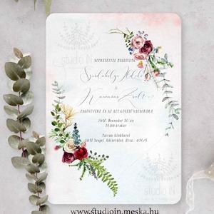 Téli esküvői meghívó, romantikus esküvői meghívó, Bohém Esküvő, festett Virágos Meghívó, Esküvő, Meghívó, ültetőkártya, köszönőajándék, Esküvői dekoráció, Fotó, grafika, rajz, illusztráció, Papírművészet, Romantikus virágos esküvői meghívó, prémium borítékkal.\n\nA termék tartalmazza:\n* Meghívó lap, egy ol..., Meska