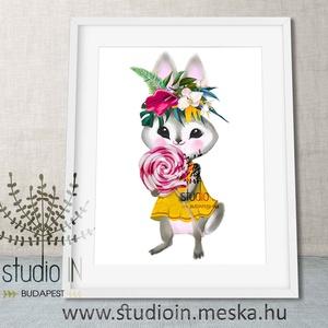 Falikép Babaszobába, Nyuszis falikép, nyuszi dekoráció, erdei gyerekszoba dekoráció, nyúl (Studioin) - Meska.hu