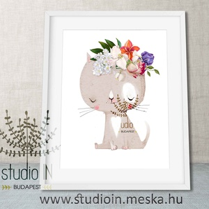 Falikép Babaszobába, cicás falikép, macska dekoráció, cica gyerekszoba dekoráció, cicás kép , Dekoráció, Otthon & lakás, Gyerek & játék, Gyerekszoba, Baba falikép, Fotó, grafika, rajz, illusztráció, Cicás falikép gyermekeknek vagy bárkinek aki macska rajongó. Kedves állatos dekoráció a baba- vagy g..., Meska