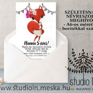 SZÜLETÉSNAPI Meghívó, rókás meghívó, gyermek szülinapi lap, Születésnapi csajos meghívó ovisoknak,  (Studioin) - Meska.hu
