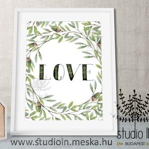 LOVE falikép Babaszobába, leveles falikép, Love dekoráció, erdei gyerekszoba dekoráció, Dekoráció, Otthon & lakás, Gyerek & játék, Gyerekszoba, Kép, Fotó, grafika, rajz, illusztráció, Szeretet! Falikép gyerekszobába. A felirat festett zöld levelekkel és makkokkal van tarkítva. \n\nA ké..., Meska