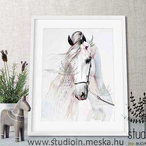 Lovas falikép kislányoknak, lovas dekoráció, lovas gyerekszobai falikép, fehér ló, Lakberendezés, Otthon & lakás, Falikép, Dekoráció, Kép, Fotó, grafika, rajz, illusztráció, Falikép a lovak szerelmeseinek. Ez a kép kifejezetten kislányoknak készült, de kérheted virág nélkül..., Meska