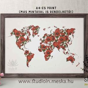 Pipacsos világatlasz, Mintás világatlasz, világtérkép falikép, Atlasz dekoráció, pipacs, Kép & Falikép, Dekoráció, Otthon & Lakás, Fotó, grafika, rajz, illusztráció, Pipacsos világatlasz, Mintás világatlasz, világtérkép falikép, Atlasz dekoráció, pipacs\n\nA kép matt ..., Meska
