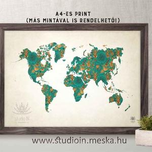 Türkiz mintás világatlasz, mintás világatlasz, világtérkép dekoráció, Atlasz dekoráció,, Dekoráció, Otthon & lakás, Lakberendezés, Falikép, Egyéb, Fotó, grafika, rajz, illusztráció, Türkiz mintás világatlasz, mintás világatlasz, világtérkép dekoráció, Atlasz dekoráció,,\n\nA kép 280 ..., Meska