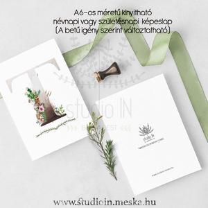 Születésnapi képeslap, monogramos képeslap, névnapi köszöntő, üdvözlő lap, születésnapi képeslap,  névnap képeslap (Studioin) - Meska.hu