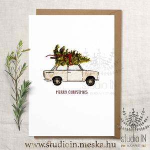 Trabantos karácsonyi képeslap, Trabantos karácsony, Trabant karácsonyi üdvözlő lap, Naptár, képeslap, album, Otthon & lakás, Ajándékkísérő, Karácsony, Ünnepi dekoráció, Dekoráció, Ajándékkísérő, Fotó, grafika, rajz, illusztráció, Trabantos karácsonyi képeslap, Trabantos karácsony, Trabant karácsonyi üdvözlő lap\n\nA kártyák matt, ..., Meska