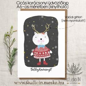 Cicás karácsonyi képeslap, macskás karácsony, cica karácsonyi üdvözlő lap, Karácsonyi képeslap, Karácsony & Mikulás, Otthon & Lakás, Fotó, grafika, rajz, illusztráció, Papírművészet, Saját grafikával készült cicás karácsonyi képeslap, macskás karácsony, cica karácsonyi üdvözlő lap\n\n..., Meska