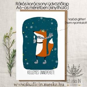 Rókás karácsonyi képeslap, Róka karácsony, Rókás karácsonyi üdvözlő lap, Naptár, képeslap, album, Otthon & lakás, Ajándékkísérő, Karácsony, Ünnepi dekoráció, Dekoráció, Ajándékkísérő, Fotó, grafika, rajz, illusztráció, Papírművészet, Saját grafikával készült rókás karácsonyi képeslap, Róka karácsony, Rókás karácsonyi üdvözlő lap, ró..., Meska