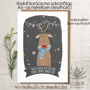 Rudolf karácsonyi képeslap, szarvasos karácsony, Rudolfos karácsonyi üdvözlő lap, Naptár, képeslap, album, Képeslap, levélpapír, Karácsonyi, adventi apróságok, Ajándékkísérő, képeslap, Fotó, grafika, rajz, illusztráció, Papírművészet, Saját grafikával készült rudolf karácsonyi képeslap, szarvasos karácsony, Rudolfos karácsonyi üdvöz..., Meska