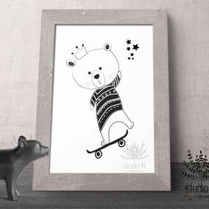 Macis monokróm Falikép Babaszobába, mackó falikép, macis gyermekszoba dekoráció, mackós gyerekszoba falikép, medve kép, Gyerek & játék, Dekoráció, Otthon & lakás, Gyerekszoba, Baba falikép, Fotó, grafika, rajz, illusztráció, Monochrome Macis falikép gyermekeknek vagy bárkinek aki kedveli a bundásokat. Kedves állatos dekorác..., Meska
