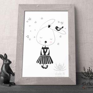 nyuszis monokróm dekoráció Babaszobába, nyuszis gyermekszoba dekoráció, erdei állatos gyerekszoba falikép, - Meska.hu