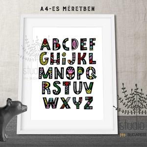 ABC fali dekoráció gyerekszobába, színes gyermekszoba dekoráció, motívumos abc gyerekszoba falikép,, Otthon, lakberendezés, Baba-mama-gyerek, Gyerekszoba, Baba falikép, Fotó, grafika, rajz, illusztráció, Motívumokkal díszített színes ABC print. Elérhető a teljes, kiterjesztett magyar ABC betűivel vagy ..., Meska