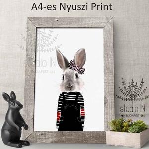 Nyuszis Falikép Babaszobába, nyuszis dekoráció, kislány szoba dekoráció, Nyuszis gyerekszoba falikép, nyúl kép  (Studioin) - Meska.hu