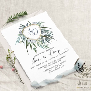 Zöld címeres Meghívó, zöld Esküvői Meghívó, Címeres Esküvői meghívó, Natur Meghívó, Levél, Greenery - esküvő - meghívó & kártya - meghívó - Meska.hu