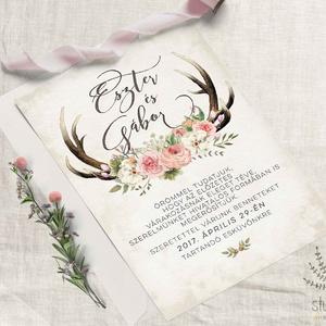 Agancsos Meghívó, Esküvői Meghívó, Erdei Esküvő, Vadász Esküvő,Virágos Meghívó, Meghívó, Meghívó & Kártya, Esküvő, Fotó, grafika, rajz, illusztráció, Papírművészet, Vadászos Esküvői  meghívó, prémium borítékkal.\n\nA termék tartalmazza:\n* Meghívó lap, egy oldalas : A..., Meska