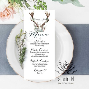 Menü kártya esküvőre, agancsos esküvői menü kártya, Esküvői étlap, Erdei Esküvő, Vadász Esküvő, esküvői asztal dekoráció, Esküvő, Naptár, képeslap, album, Meghívó, ültetőkártya, köszönőajándék, Esküvői dekoráció, Fotó, grafika, rajz, illusztráció, Papírművészet, Menü kártya a vadászos esküvői meghívónkhoz. A Menü kártya akár dekorációja is lehet az esküvői asz..., Meska
