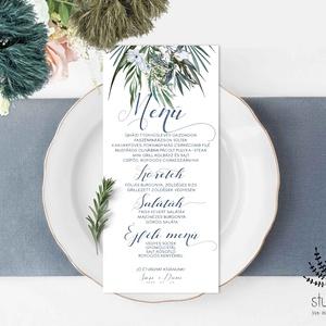 Menü kártya esküvőre, címeres esküvői menü kártya, Esküvői étlap, Zöld Esküvő, zöld leveles esküvői asztal dekoráció, Esküvő, Meghívó, ültetőkártya, köszönőajándék, Esküvői dekoráció, Naptár, képeslap, album, Otthon & lakás, Fotó, grafika, rajz, illusztráció, Papírművészet, Menü kártya a zöld címeres esküvői meghívónkhoz.\nA Menü kártya akár dekorációja is lehet az esküvői ..., Meska
