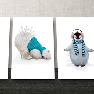 Macis kép, Nyuszis kép, Pingvin kép szett, jegesmaci dekoráció, állatos szett gyerekszoba falikép, nyuszis kép , Falra akasztható dekor, Dekoráció, Otthon & Lakás, Kép & Falikép, Fotó, grafika, rajz, illusztráció, Jegesmaci, pingvin és nyuszis 3db-os kedves állatos falikép szett a gyerekszobába. \n\nA képeket hófeh..., Meska