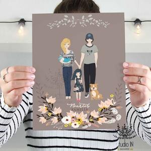 Anyák napi ajándék, családi falikép, személyre szóló ajándék, ajándék családi portré, Baba-mama-gyerek, Dekoráció, Otthon, lakberendezés, Anyák napja, Fotó, grafika, rajz, illusztráció, Papírművészet, Anyák napi ajándék, családi falikép, személyre szóló ajándék. Anyák napjára szuper ajándék, akár a ..., Meska