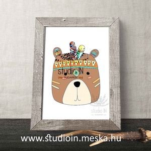 Állatos Falikép szett, 3db-os A4-es print szett, Erdei állatos képek, róka, medve, nyuszi gyerekszoba kép (Studioin) - Meska.hu