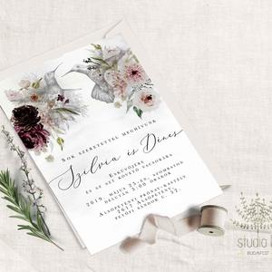 Madaras esküvői meghívó, elegáns virágos esküvői meghívó, őszi esküvői meghívó, Esküvő, Naptár, képeslap, album, Meghívó, ültetőkártya, köszönőajándék, Képeslap, levélpapír, Fotó, grafika, rajz, illusztráció, Papírművészet, Romantikus és elegáns esküvői meghívó, gyönyörű madár-rajzzal és virágokkal díszítve.   Ez a termék..., Meska