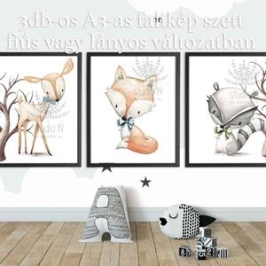 Erdei állatos falikép szett A3-as, 3db-os állatos dekoráció, Nyuszi, róka, Őz falikép szett (Studioin) - Meska.hu
