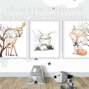 Erdei állatos falikép szett A3-as, 3db-os állatos dekoráció, Nyuszi, róka, Őz falikép szett, Kép & Falikép, Dekoráció, Otthon & Lakás, Fotó, grafika, rajz, illusztráció, Erdei állatos 3 db-os falikép szett. \nTündéri állatkák a gyerekszobába, amit kérhetsz fiús vagy lány..., Meska
