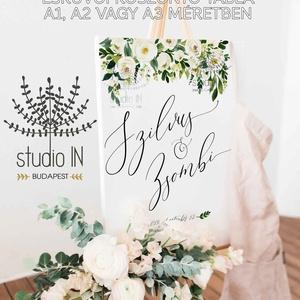Esküvői üdvözlő tábla, esküvői köszöntő tábla, Esküvői Vendégváró tábla, Esküvő, Dekoráció, Esküvői dekoráció, Meghívó, ültetőkártya, köszönőajándék, Fotó, grafika, rajz, illusztráció, Papírművészet, A köszöntő táblákat 3 különböző méretben készítjük: A1, A2 és A3-as változatban. Jelen ár az A2-es ..., Meska