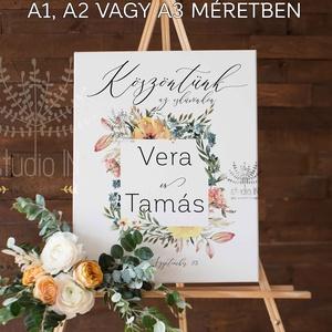 Esküvői üdvözlő tábla, esküvői köszöntő tábla, Esküvői Vendégváró tábla, Esküvő, Esküvői dekoráció, Dekoráció, Otthon & lakás, Ünnepi dekoráció, Fotó, grafika, rajz, illusztráció, Papírművészet, Virágos, nyári esküvői köszöntő tábla. \n\nAMIT KÜLDÜNK:\nDIGITÁLIS FILE VÁSÁRLÁSA ESETÉN: \n- 1 DB MÉRE..., Meska
