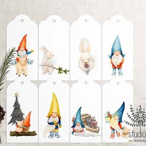 Karácsonyi manós ajándékkísérő, születésnapi ajándékkísérő, ajándékkártya, , Karácsony & Mikulás, Otthon & Lakás, Karácsonyi csomagolás, Fotó, grafika, rajz, illusztráció, Add át ajándékaid helyes manók kíséretében.\n______________\nA csomag tartalma:\n- 8 db manos és nyuszi..., Meska