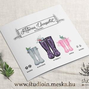 karácsonyi képeslap, ajándékkísérő képeslap, személyre szóló karácsonyi lap, Naptár, képeslap, album, Karácsonyi, adventi apróságok, Képeslap, levélpapír, Ajándékkísérő, képeslap, Fotó, grafika, rajz, illusztráció, A csizmás grafikánk karácsonyi képeslap változata. Küldj egyet szimplán postán vagy add át ajándéka..., Meska
