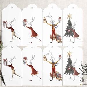 Ajándékkísérő karácsonyra, téli születésnapi ajándékkísérő, ajándékkártya, kísérő kártya, Otthon & Lakás, Karácsony & Mikulás, Karácsonyi csomagolás, Fotó, grafika, rajz, illusztráció, Add át ajándékaid trendi kis kártyák kíséretében.\n______________\nA csomag tartalma:\n-  8 db nyuszis ..., Meska