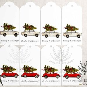 Karácsonyi autós ajándékkísérő, ünnepi ajándékkísérő, trabant ajándékkártya, , Naptár, képeslap, album, Otthon & lakás, Ajándékkísérő, Képeslap, levélpapír, Dekoráció, Fotó, grafika, rajz, illusztráció, Add át ajándékaid stílusosan fiúnak vagy lánynak ezekkel a helyes autós ajándékkísérőkkel.\n_________..., Meska