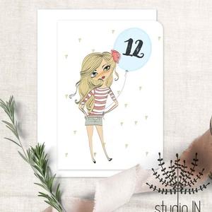 Születésnapi képeslap, csajos születésnap, születésnapi üdvözlő, képeslap, Naptár, képeslap, album, Otthon & lakás, Ajándékkísérő, Képeslap, levélpapír, Dekoráció, Fotó, grafika, rajz, illusztráció, Születésnapi képeslap lányoknak. A lufiban lévő számot változtatjuk meg mindössze kérésnek megfelelő..., Meska