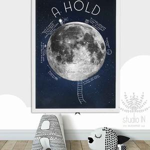 A hold, hold poszter, csillagkép, luna, égbolt, Hold falikép, Gyerek & játék, Gyerekszoba, Baba falikép, Dekoráció, Otthon & lakás, Fotó, grafika, rajz, illusztráció, HOLD POSZTER az égbolt szerelmeseinek. \nEz a hold falikép elsősorban gyerekeknek készült néhány hasz..., Meska